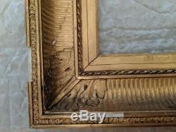 Cadre à canaux et palmettes 19ème bois doré feuillure 43,2 X 30,4 cm à restaurer