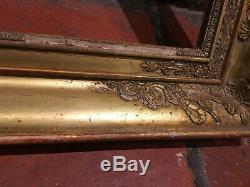Cadre à palmettes doré à la feuille d'or de la fin du XVIIIe siècle / début XIXe