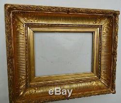 Cadre ancien à canaux Barbizon doré feuille d'or XIXe assemblé par clés