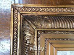 Cadre ancien à clés bois et stuc doré XIX° format feuillure 24,5cm 45,5cm