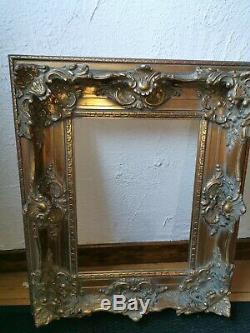 Cadre ancien bois doré 62/52 cm moulure sculpture tableau peinture toile circa