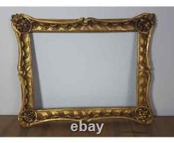Cadre ancien bois sculpté doré XIXe s. 49x39, feuillure 40x30 cm Bel état