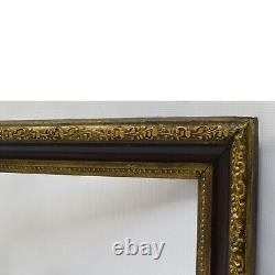 Cadre ancien circa 1900 en bois décoré Doré Noir Feuillure 40x30 cm