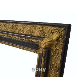 Cadre ancien de 1850 en bois doré avec coins decoratifs Feuillure 32,5 x 26,5
