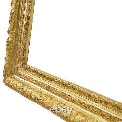 Cadre ancien de 1880-1900 en bois decoré doré a la feuille Feuillure 69x55,5 cm