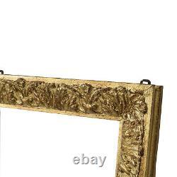 Cadre ancien de 1942 en bois decoré doré a la feuille Feuillure 64,5x50 cm