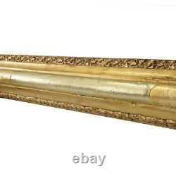 Cadre ancien des années 1850-1900 en bois doré a la feuille Feuillure 58,5x43
