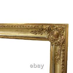 Cadre ancien des années 1880-1900 en bois decoré Feuillure 65,5x50,5 cm