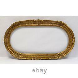 Cadre ancien du XIX ème siècle en bois ovale décoré Doré Feuillure 104x48,5 cm