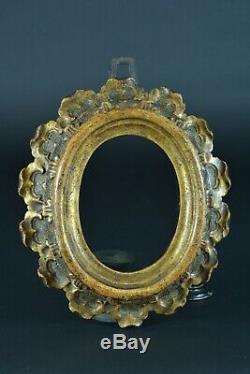 Cadre ancien en bois doré Ovale Italie 18 ème Tableau relique Cornice frame