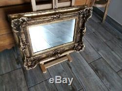 Cadre ancien ornementé en bois doré d'origine, avec miroir 31 x 19 cm