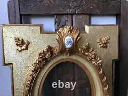 Cadre ancien oval bois & stuc doré XIXème siècle 39x32,5 cm, feuillure 21x17