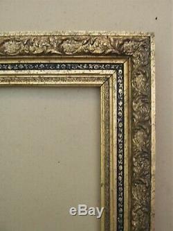Cadre barbizon en bois et stucs doré fin XIXe Siècle feuillure 50,8 x 38 cm