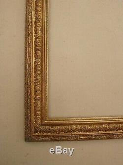 Cadre barbizon en bois et stucs doré fin XIXe Siècle feuillure 54 x 44 cm