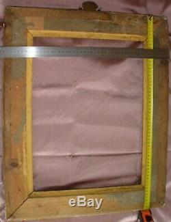 Cadre bois & stuc doré à canaux aux armes de la couronne royale écu fleur de lys