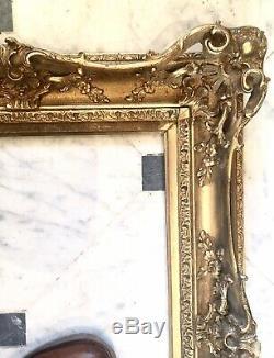 Cadre bois stucs dorés LOUIS XV Rocaille XIXe 19ième 10P 55X38 TOILE Frame