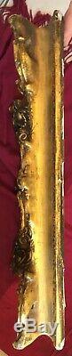 Cadre bois stucs dorés LOUIS XV Rocaille XIXe 19ième clés 6F 41X33 TOILE Frame