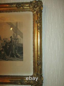 Cadre en Bois et Stuc Dorés dEpoque Romantique vers 1830 & lithographie GOUPIL