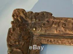 Cadre en bois d'époque régence, louis xiv, xvIII ème doré a la berain