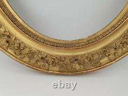Cadre ovale Ancien en bois et stuc doré XIX ème s Napoléon III
