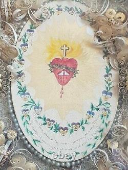 Cadre religieux Sacré coeur St Modeste Ste Vierge. Bois doré XIXé n°792