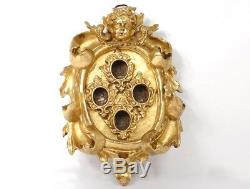 Cadre reliquaire bois sculpté doré tête angelot reliquary XVIIIème siècle