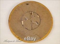 Cadre rond miniature en bois sculpté doré 18e