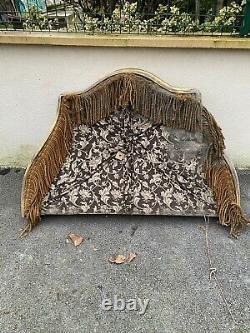 Ciel de lit ancien en bois Doré Cadre 142 X 97 cm