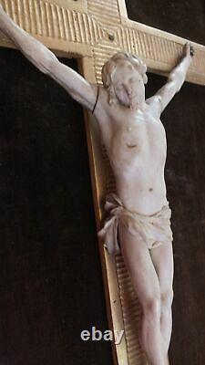 Crucifix Christ 18eme Cadre Bois Doré Parcloses