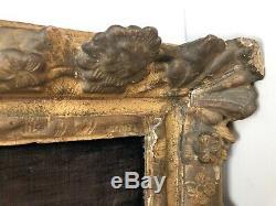 Crucifix Sculpte A La Main Dieppe 19 Eme Avec Cadre Bois Sculpte Dore C2010