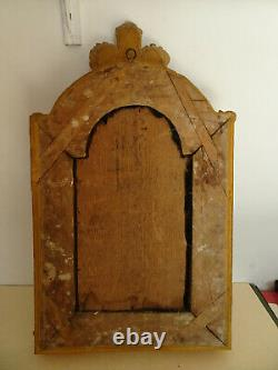 Crucifix ancien de style Louis XV. Christ. Cadre en bois doré a parcloses. XIX°