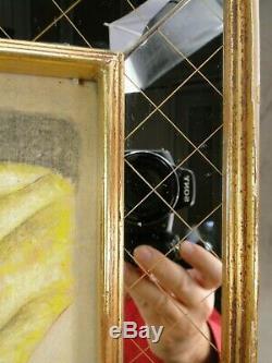 Dessin De Femme Nue Encadre Cadre Miroir Eglomise & Bois Dore Annees 40 Art Deco