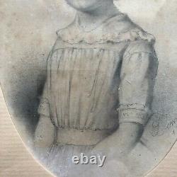Dessin Pierre Noire Jeune Fille Signe Demoussy Date 1842cadre Bois Dore