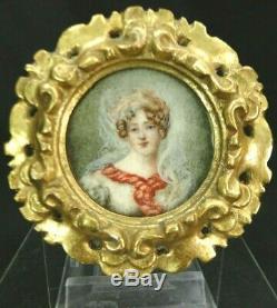 École française XIXe Peinture Miniature Portrait femme Empire cadre bois doré