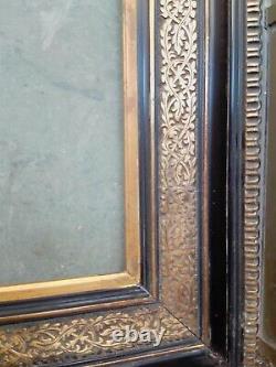 Énorme gros CADRE époque NAPOLÉON III, bois noici et décors dorés, fin du 19ème