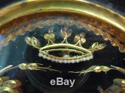 Ex voto Reliquaire Paperolles dorés Sous verre cadre noirci NIII cachet de cire