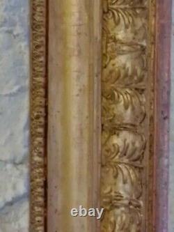 Exceptionnel CADRE d'époque EMPIRE, Gorge et PALMETTES, FEUILLE D'OR, début 19è