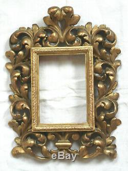 Exceptionnel CADRE en bois sculpté, ajouré et doré ITALIE, style FLORENTIN 19è