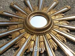 Fabulous Cadre Soleil en Bois Doré avec Miroirs Miroir D'Époque Xx Seconde