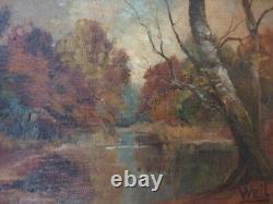 Fernand Weil Huile sur panneau HSP tableau peinture sous bois cote cadre doré