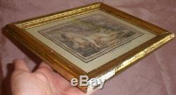 François BOUCHER Femme nue Gravure par DEMARTEAU Cadre bois & stuc doré