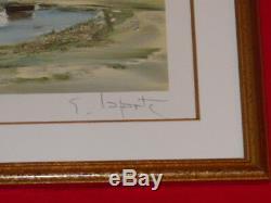 GEORGES LAPORTE BORD DE MER BRETAGNE LITHO Signée 1/150 CADRE BOIS DORE 47x38