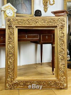 GRAND CADRE D'ÉPOQUE NAPOLÉON III EN BOIS DORÉ ET SCULPTÉ XIXe (62x50cm)