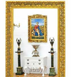 GRAND MIROIR BAROQUE DORE 210x120cm STYLE ROCAILLES LOUIS XV CADRE EN BOIS DORE