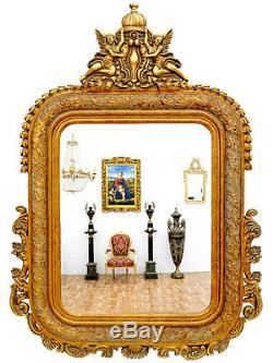 GRAND MIROIR IMPERIAL 142x98cm ROYAL CADRE EN BOIS DORE STYLE VICTORIEN GLACE