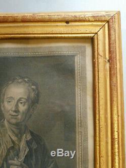GRAVURE ANCIENNE. Denis DIDEROT. Par Van LOO. XVIII°. Cadre bois doré