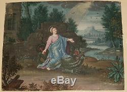 Gouache 18eme Sainte Marthe et la Tarasque dans sont cadre doré en bois sculpté