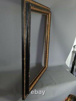 Grand Cadre Napoleon III bois stuc doré doré, noir 80x63 feuillure 65,3x49,5 cm