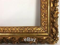 Grand Cadre ancien bois & stuc doré c. 1850, 72x63,5 cm Feuillure56,3x48 cm SE1