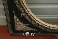 Grand Cadre époque Napoléon III bois et stuc noir/or 78 x 68 cm